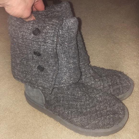 ugg shoes sz 8 gray knitted fold over calf height boots poshmark rh poshmark com